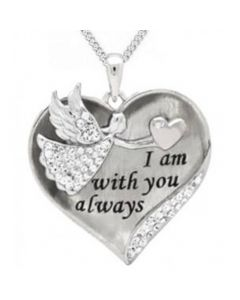 Angel With You Sterling Silver Cremation Ashes Memorial Pendant
