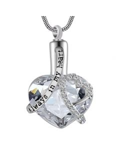 Always In My Heart Clear - Premium White Gold Plated Stainless Steel Cremation Ashes Jewellery Urn Pendant