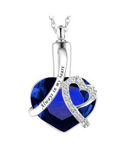 Always In My Heart Navy - Stainless Steel Cremation Ashes Jewellery Urn Pendant