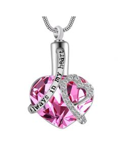 Always In My Heart Pink - Premium White Gold Plated Stainless Steel Cremation Ashes Jewellery Urn Pendant