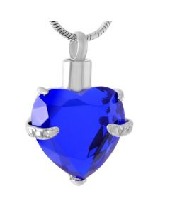Always and Forever Heart Sapphire - Stainless Steel Cremation Ashes Jewellery Pendant