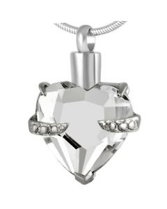 Always and Forever Heart Clear - Stainless Steel Cremation Ashes Jewellery Pendant