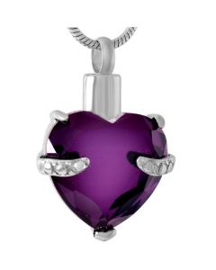 Always and Forever Heart Amethyst - Stainless Steel Cremation Ashes Jewellery Pendant