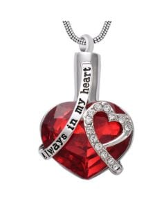 Always In My Heart Ruby - Premium White Gold Plated Stainless Steel Cremation Ashes Jewellery Urn Pendant