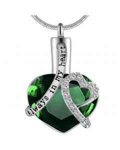 Always In My Heart Emerald - Premium White Gold Plated Stainless Steel Cremation Ashes Jewellery Urn Pendant
