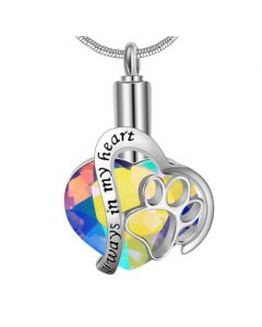 Always In My Heart Pet Paw Iridescent - Premium White Gold Plated Stainless Steel Cremation Ashes Jewellery Urn Pendant