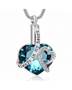 Always In My Heart Blue Zircon - Premium White Gold Plated Stainless Steel Cremation Ashes Jewellery Urn Pendant
