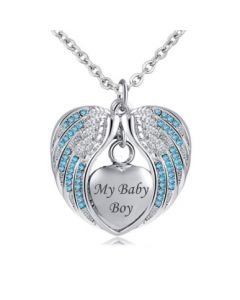 Angel Wings 'My Baby Boy' Blue - Stainless Steel Cremation Ashes Jewellery Necklace Pendant