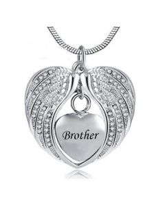 Angel Wings Brother - Stainless Steel Cremation Ashes Jewellery Necklace Pendant