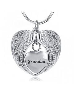 Angel Wings Grandad - Stainless Steel Cremation Ashes Jewellery Necklace Pendant