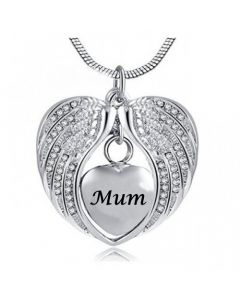 Angel Wings Mum - Stainless Steel Cremation Ashes Jewellery Necklace Pendant