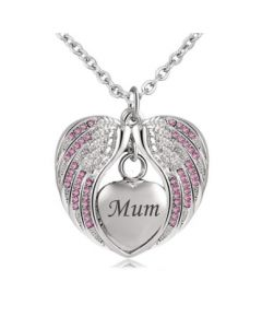 Angel Wings Mum Pink - Stainless Steel Cremation Ashes Jewellery Necklace Pendant