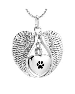 Angel Wings Paw - Stainless Steel Pet Cremation Ashes Memorial Urn Pendant