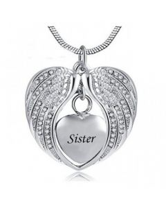 Angel Wings Sister - Stainless Steel Cremation Ashes Jewellery Necklace Pendant