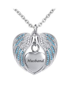 Angel Wings Husband Blue - Stainless Steel Cremation Ashes Jewellery Necklace Pendant