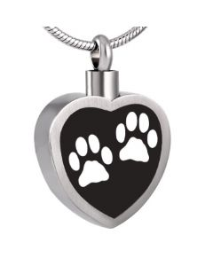 Black Inlay Double Paw Heart - Stainless Steel Pet Ashes Memorial Urn Pendant