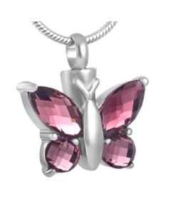 Blissful Butterfly Amethyst - Stainless Steel Cremation Ashes Jewellery Pendant
