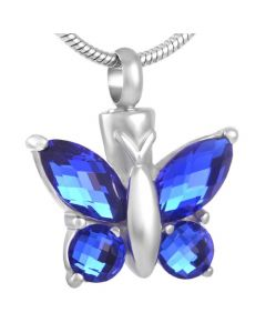 Blissful Butterfly Cobalt - Stainless Steel Cremation Ashes Jewellery Pendant