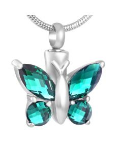Blissful Butterfly Indicolite - Stainless Steel Cremation Ashes Jewellery Pendant