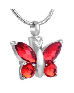 Blissful Butterfly Ruby - Stainless Steel Cremation Ashes Jewellery Pendant