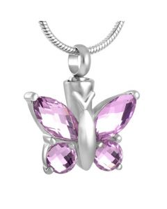 Blissful Butterfly Pink Tourmaline - Stainless Steel Cremation Ashes Pendant