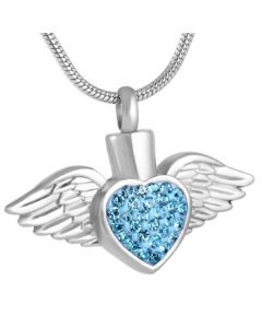 Blushing Wings Blue Stones - Stainless Steel Ashes Jewellery Pendant