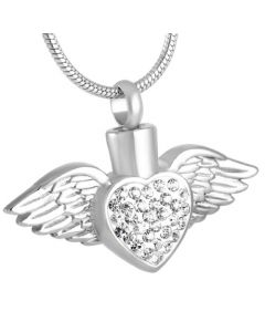 Blushing Wings Clear Stones - Stainless Steel Ashes Jewellery Pendant