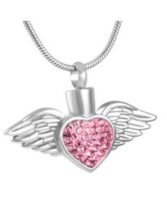 Blushing Wings Pink Stones - Stainless Steel Ashes Jewellery Pendant