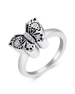 Butterfly Ring - Stainless Steel Cremation Ashes Jewellery Urn Memorial Keepsake