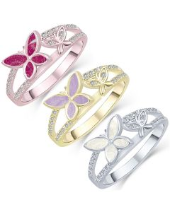 LifeStone™ Butterflies Nigh Ladies Cremation Ashes Ring