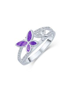 LifeStone™ Butterflies Nigh Ladies Cremation Ashes Ring-Violet-Sterling Silver