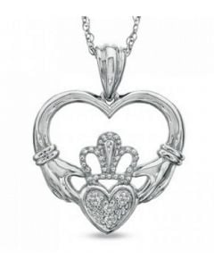 Claddagh Heart Sterling Silver Cremation Ashes Memorial Pendant