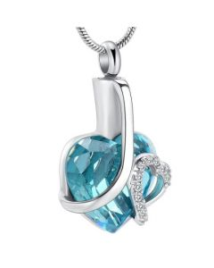 Crystal Azure Heart -Stainless Steel Cremation Ashes Jewellery Urn Pendant