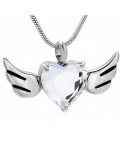 Crystal Wing Heart -Stainless Steel Cremation Ashes Jewellery Urn Pendant