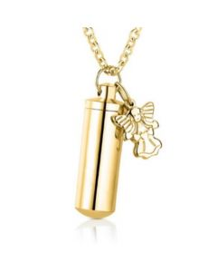 Cylinder Angel Charm Gold - Stainless Steel Cremation Ashes Pendant