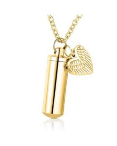 Cylinder Heart Charm Gold - Stainless Steel Cremation Ashes Pendant