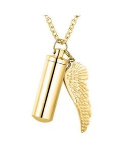 Cylinder Wing Charm Gold - Stainless Steel Cremation Ashes Pendant