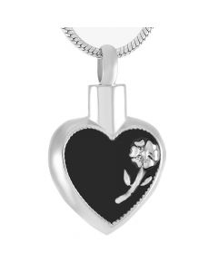 Daisy Heart - Stainless Steel Ashes Jewellery Memorial Urn Pendant