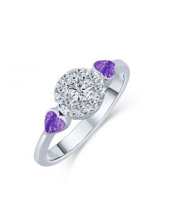 LifeStone™ Ladies Devotion Cremation Ashes Ring-Violet-Sterling Silver