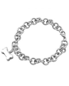 Dog Bone Charm Bracelet - Stainless Steel Cremation Ashes Bracelet