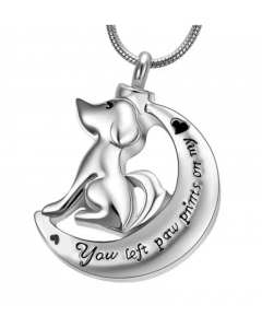 Dog Moon - Stainless Steel Cremation Ashes Jewellery Pendant