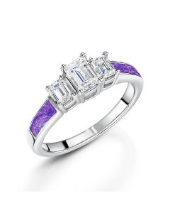 LifeStone™ Ladies Grace Cremation Ashes Ring-Violet-Sterling Silver
