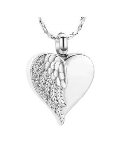 Feathered Wing Heart -Stainless Steel Cremation Ashes Jewellery Urn Pendant