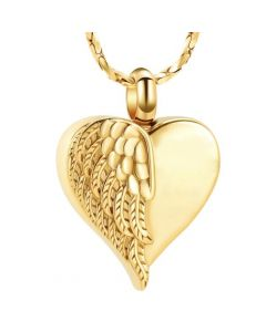 Feathered Wing Heart Gold -Stainless Steel Cremation Ashes Jewellery Urn Pendant