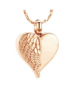 Feathered Wing Heart Rose Gold -Stainless Steel Cremation Ashes Jewellery Urn Pendant