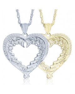Feathered Wing Heart Cremation Ashes Memorial Pendant