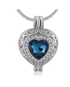 Filigree Gem Blue Zircon Stone - Premium White Gold Plated Stainless Steel Cremation Ashes Jewellery Urn Pendant