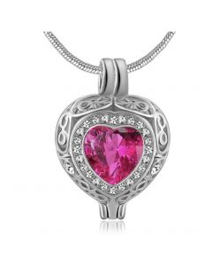 Filigree Gem Bright Pink Stone - Premium White Gold Plated Stainless Steel Cremation Ashes Jewellery Urn Pendant