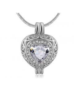 Filigree Gem Clear Stone - Premium White Gold Plated Stainless Steel Cremation Ashes Jewellery Urn Pendant