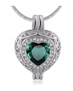 Filigree Gem Emerald Stone - Premium White Gold Plated Stainless Steel Cremation Ashes Jewellery Urn Pendant